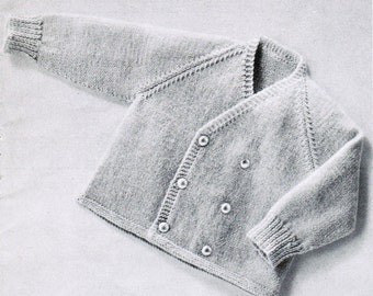 Knitted Tailored Baby Cardigan pattern PDF / 6 to 9 months / Stylish Double Breasted Baby Caridgan