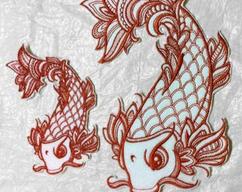 Intricate Koi Fish Design- Embroidered Iron on Patch - applique - 2 Sizes - Choose Color