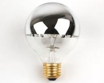 25w Silver Crown Bulb - half chrome globe
