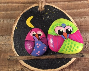 OWL Painted stone - painted rock - OWL ornament - wood slice colorful birds on a stick nighttime moon