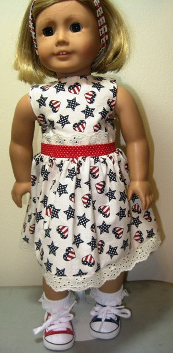 Red, White and Blue..Dress American Made 18 Inch Doll Clothes