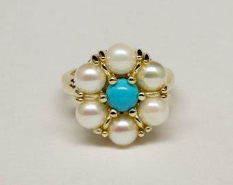 Vintage Styled Classic Natural Sleeping Beauty Turquoise and Akoya Pearl Cocktail Ring in 14k Yellow Gold Size 7 1/4