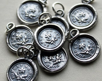 Wax Seal Jewelry Forget Me Not Charm - Silver Wax Seal Jewelry - Remembrance Jewelry