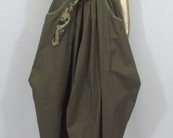 Cotton, linen,Lagenlook, skirt, army green, plus size, maxi, balloon, bubble, shabby chic, summer Sizes XS- XXL. Free shipping in USA