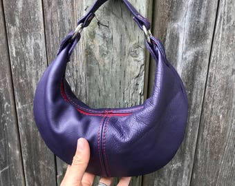 MINI HOBO - purple leather purse - toddler purse - purple leather bag - little girl's purse - child's purse - mini purse