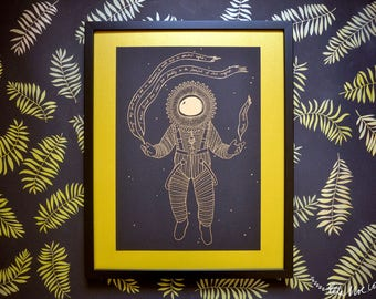Astronaut, poem, metallic gold on black risograph print, A3 poster, outer space