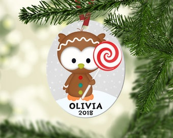 Personalized Kids Christmas Owl Ornament, Custom Ornament, Stocking Stuffer, Personalized Ornament
