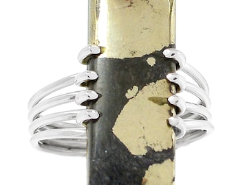 All Natural Pyrite in Hematite Ring in Solid Sterling Silver. Size 10.5 1975