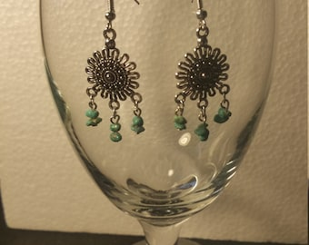 Turquoise 'sun' earrings