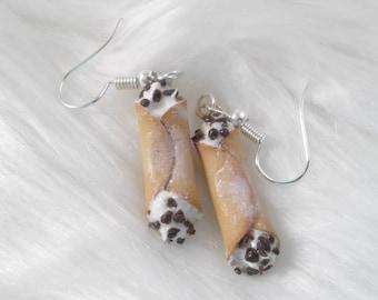 Cannoli earrings, chocolate chip cannoli charm, miniature food jewelry, polymer clay jewelry, italian desserts, miniature food, cannoli food