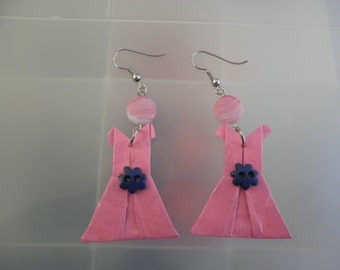 Pink Origami Dress Earrings