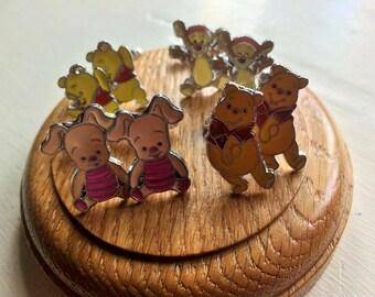 Pooh and friends on silver tone cufflinks Winnie the pooh/ tigger/piglet /rhinestone pooh