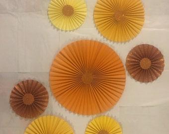 7 yellow and orange  paper rosette backdrop  paper pin wheel paper fan