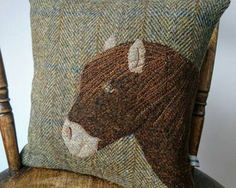 Hand crafted Harris Tweed Pony Design cushion cover.