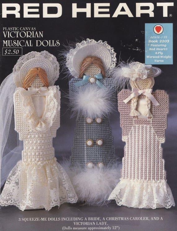 Viktorianische musikalische Puppen rotes Herz J P Coats