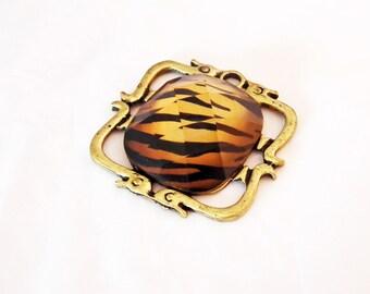 PU110 - large square patterns Leopard glass Cabochon Antique Bronze frame charm