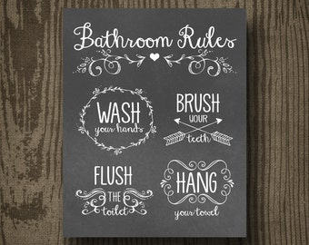 Bathroom Rules Printable - Instant Download - Wall Art -  Home Decor - Bathroom Signs - Housewarming - DIY Wall Art