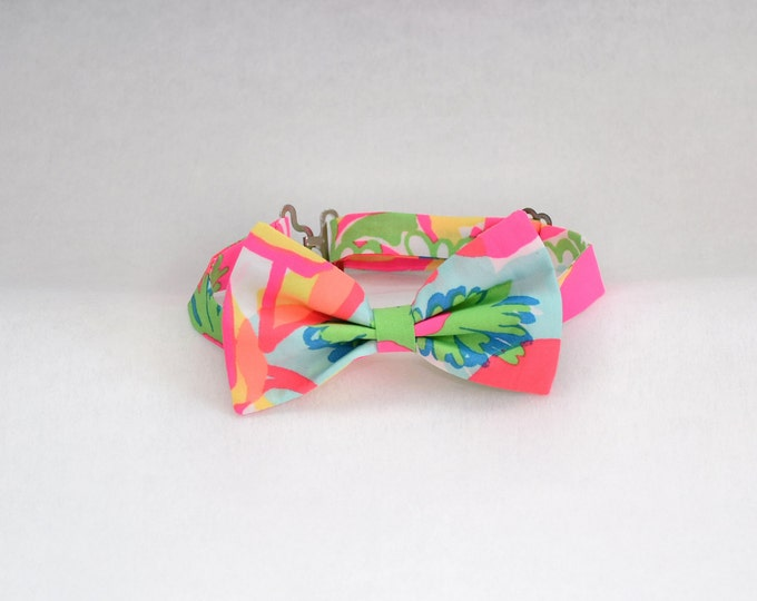 Boy's pre-tied Bow Tie, Lilly neon bright Ice Cream Social print, father/son ties, wedding accessory, toddler bow tie, ring bearer bow tie,