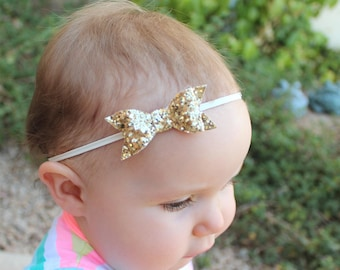 Gold Glitter Bow Headband, Baby Headband, Newborn Girl Headband, Toddler Headband, Baby Shower Gift
