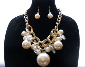 Big Statement Pearl Necklace Earring Set #731