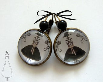 Earrings / Stud Earrings/Cabochon, brass, my pretty dresses, Vintage.