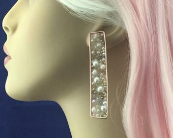 pearl earrings, rose gold earrings, transparent earrings, bridal earrings, wedding earrings, earring, drop earring, dangle earrings, gifts