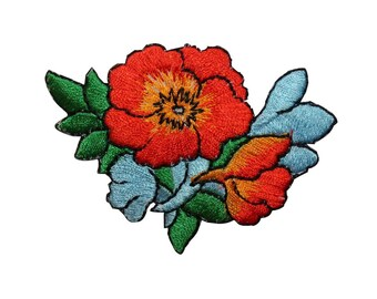 ID 6406 Orange Poppy Flower Patch Blossoms Plant Embroidered Iron On Applique