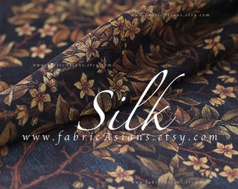 Brown Leaves Silk Georgette Fabric