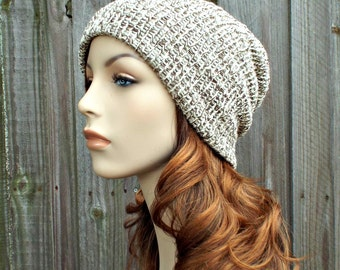 Double Knit Hat Slouchy Beanie Wool Hat - Womens Beanie Mens Beanie in Oak Tweed Cream and Brown - Womens Accessories