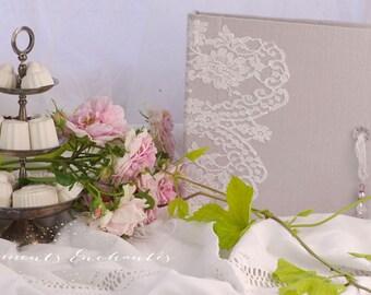 Livre d'or mariage Baptême dentelle de Calais blanche mothers' Day