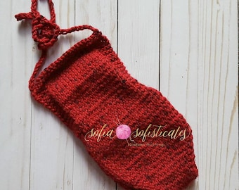 Red Tweed Newborn Knit Romper/Photo Prop/Halter/Christmas/Boy/Girl/Red/Black- READY TO SHIP