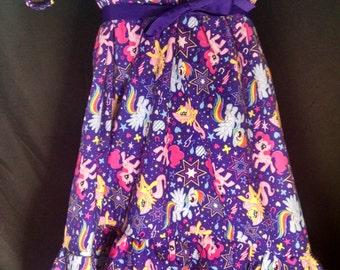 ABDL/Little/Sissy Ruffled peasant dress- My little pony cutie power toss purple fabric