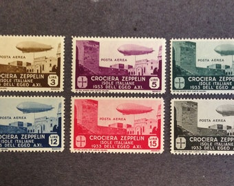 Aegean Islands 1933 Zeppelin Airmail Stamps SC #C20 - C25 MLH