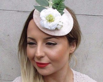 Blush Pink White Velvet Rose Flower Leaf Fascinator Headpiece Hair Clip Vtg 2730