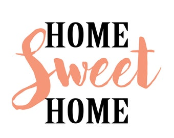Home sweet home printable in coral