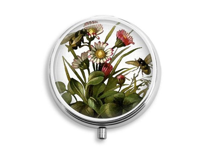 Pill Box Case Watercolor Bees Silver Stash