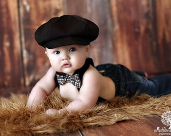 Baby Newsboy hat,  Black newsboy hat,   boy hat, beret for boys, listing for Black Hat only