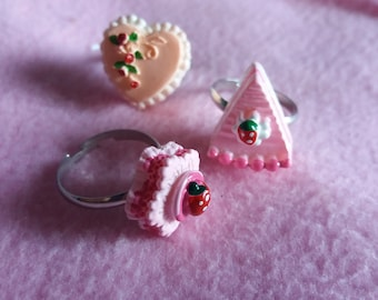 Kawaii cute pink strawberry cake rings | lolita, fairy kei, party kei