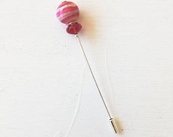 Pink glass stick pin.  Lampwork pink lapel pin.  Murano glass hat stick pin.  Glass brooch pin. Glass jewelry.  Useful jewel.