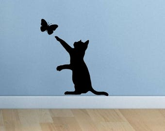Cat butterfly black silhouette vinyl sticker wall art decal
