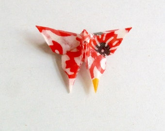 Red, white, black and yellow Butterfly Origami Brooch, in folded Japanese Paper