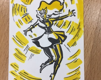 Marvel Girl sketchcard by Colleen Coover and Jackie Crofts