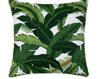 Tropical Print Palm Leaf Throw Pillow // Green Indoor Outdoor Accent Cushion Cover // Palm Green Designer Pillow Cover // 15 Sizes