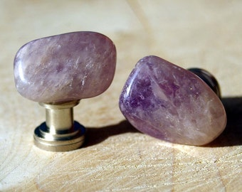 Knobs, Stone Knobs, Cabinet Knobs, Amethyst Cabinet Knobs - Set of 2, Purple knobs, stone knobs, lavender
