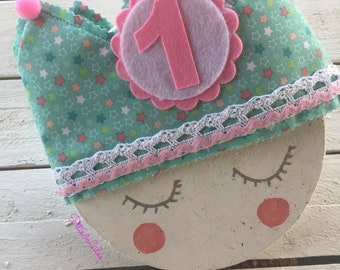 Birthday fabric crown with turquoise and pink stars