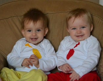 Ketchup and Mustard TWIN set of bodysuits, Great Shower gift for TWINS or siblings, twin bodysuits