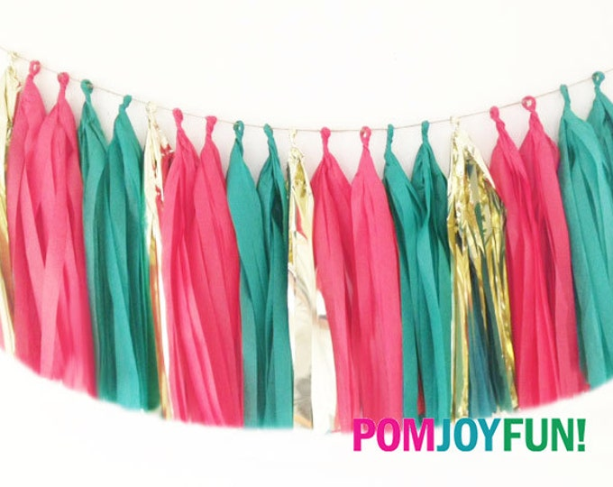 Green and Red Tassel Garland, Italian Tissue Tassel garland, Tissue garland in green, red, and metallic gold, Holiday Party Decor
