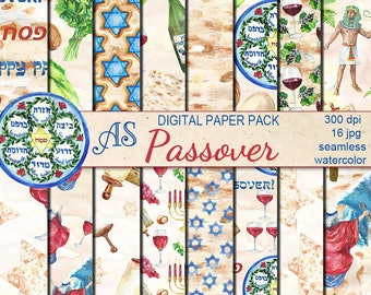Digital Watercolor Happy Passover Seamless Pack, 16 printable Digital Scrapbooking papers, Jewish Digital Collage, Instant Download, set 367