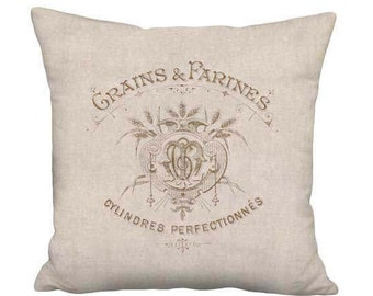 16x16 Inch - READY TO SHIP - Linen Cotton Beige Grain Sack Style Gautherin Pillow with Insert - Linen Cotton French Farmhouse Decor