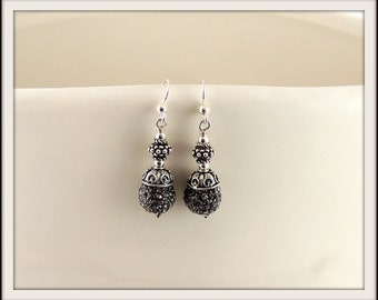 Ornate Gray Pave and Sterling Silver Dangle Earrings